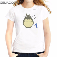 GELIAOCONG 2017 Totoro Plus Size S--XXL antlers Friend Plus Printed Funny Tee Shirts Colorful 3D Print Emoticon Japanese Culture(China)