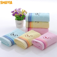 SMAVIA Cute Smiling Face Bear Design Towel Soft Absorbent Washcloth Face/Hair/Hand Towel 3 pieces/lot Home /Travel Towel(China)