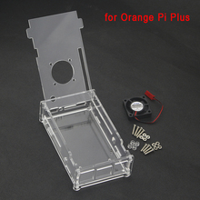 Orange Pi Plus Transparent Case Acrylic Box Protective Clear Enclosure Cover Shell  + CPU Cooling Fan for Orange Pi Plus Board