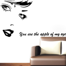 Beauty Vinyl Wall Stickers ''You are the apple of my eye'' Love quotes Decals Diy Art Mural Home Bedroom Wedding Room Decor