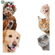MARUOXUAN Cute Funny 3D Cat Dog Door Wall Stickers Removable Sitting Room Porch Bedroom Wall Decals Animals Mural Art Wallpaper(China)