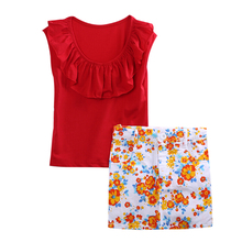 T-Shirt Flower Pencil Skirt Summer Cool 2Pcs Outfits Kids Baby Girls Toddler Clothes Sets Cute Fashion Red Ruffled 1 2 3 4 5 6 7