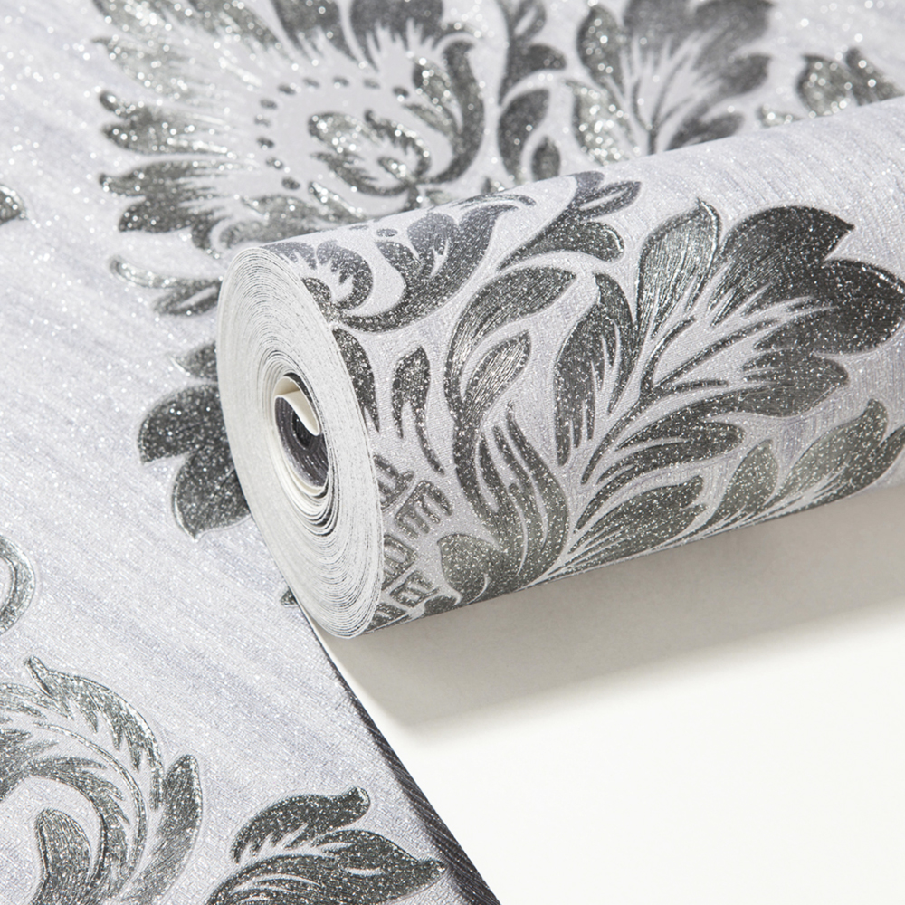 HANMERO 3D Damask Wallpaper Grey Color Soundproof Vinyl Material Classic Style Wallppaer Living Room Study Room QZ0395<br>