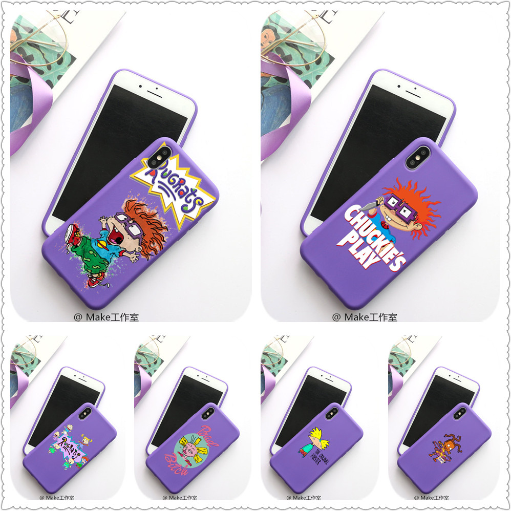cartoon Rugrats amine lovely Candy Color TPU Case phone For iphoneX 7 8 XS XR XSMAX Red Yellow purple White Cover