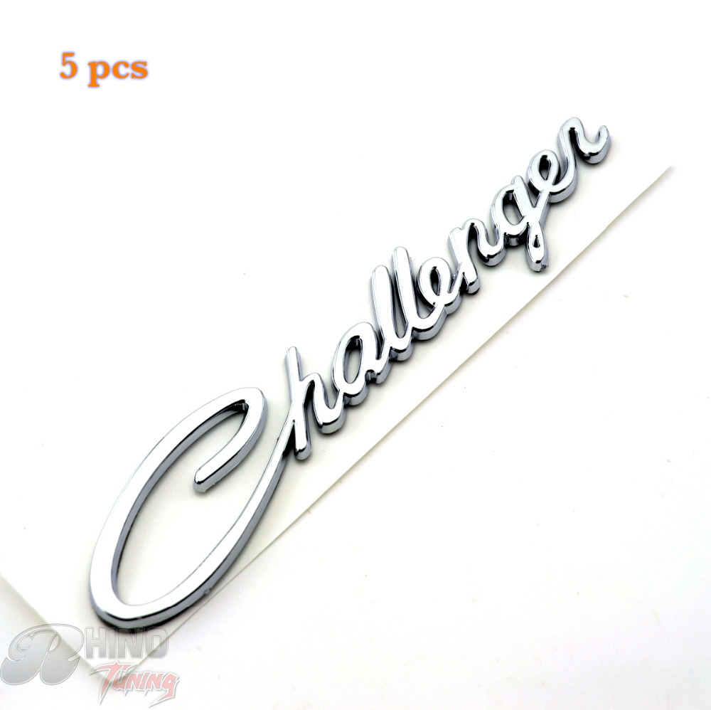Rhino Tuning 5pc Silver Challenger Rear Car Emblem for R/T SRT8 SRT10 SRT4 SXT Challenger Fender Car Badge Sticker 381(China (Mainland))