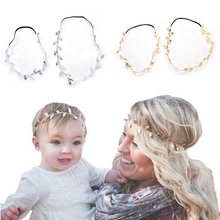 New Fashion 2Pcs Gold Silver Leaves Hairbands Korean Summer Hair Accessories Bridal Trendy Jewelry For Mother and children Gifts