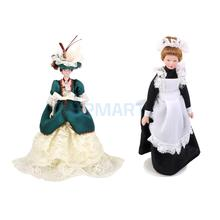 1:12 Dollhouse Miniature Porcelain Dolls Figures Victorian Lady & Maid Servant with Display Stand in Dress and Hat Girls Gifts