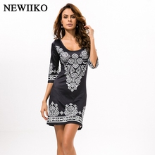 Fashion women Summer Ethnic style Sexy round collar Cashew flowers Paisley classical printing Elastic force dress