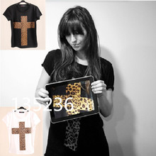 2014 New Topic 1 3D Printed Leopard Cross T Shirt Women tees women type T-shirts Short Sleeve quality Women's Printed T Shirts