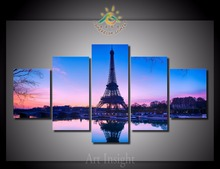5 Pieces/set Romantic Paris Printed Painting On Canvas Wallpaper Prints Home Decoration for Living Room  Fashion Painting,