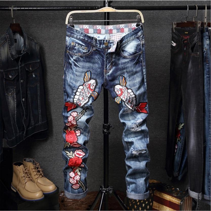 2017 Fashion Men Elastic Jeans Mens Casual designer denim pants embroidered Slim Regular Straight fit High Quality  jeansÎäåæäà è àêñåññóàðû<br><br>