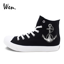 Wen Design Anchor Black Canvas Shoes Original Navigation Sailing Element Sports Sneakers Men Women High Top Skateboarding Shoes(China)