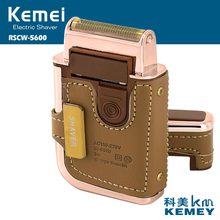 NEW!!!2 in 1 KEMEI Electric Rechargeable Men Shaver Razor Vintage Leather Wrapped Reciprocating Shaver Portable Electric Shavers