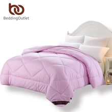 BeddingOutlet Winter Comforter Simple Solid Down Alternative Quilt Pink Gray Jade Soft Bedding Crib Twin Full Queen King(China)