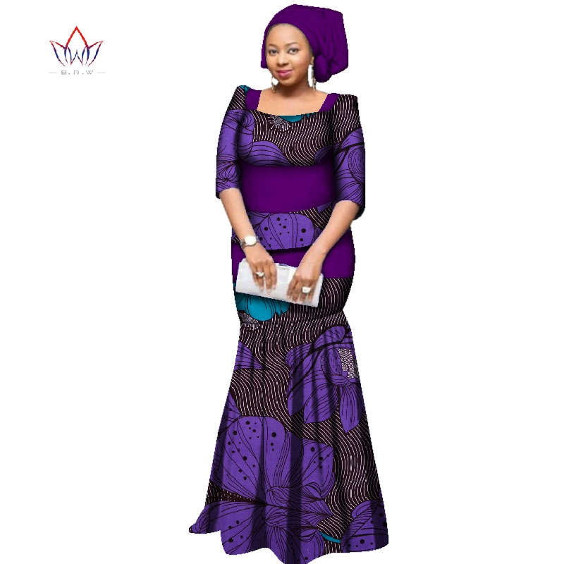 in stock African 2 pieces skirt Sets For Women one size Traditional Africa Clothing Skirt Set & Scarf  women Clothes WY2312