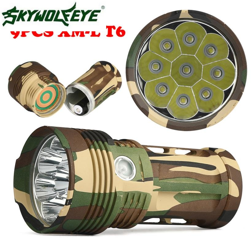 JA 10 Shining Hot Selling Fast Shipping Outdoor  25000LM 9 x CREE XM-L T6 LED Hunting Flashlight 4 x 18650 Lamp Torch<br>
