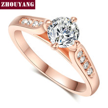 Top Quality ZYR065 Classic Rose Gold Color 1ct 6mm CZ Wedding Ring Austrian Crystals Wholesale For women(China)