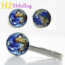 2017 New Old World Map Tie Clip and Cufflink Rainbow Multicoloured Earth Map Clips Silver Black Glass Cabochon Cufflinks CT-0025