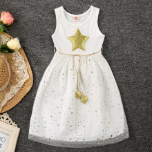 Cheap Price Summer New Girls Princess Dresses Pattern Mesh Lolita Dress Sleeveless Baby Girl Sequin Glitter Clothing(China)