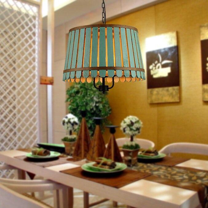 DSQ,American wood bucket restaurant pendant light personalized study room light<br><br>Aliexpress