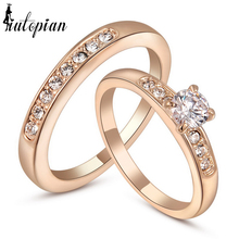 Iutopian Valentines Gift Double Ring For Women Lovers ring With Top Quality Zirconia 18KGP #RG95702(China)