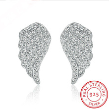 Crystal From Swarovski Time-limited Plant 2017 New Sale Wholesale European Jewelry Selling Angel Wings 925 Sterling Earring(China)