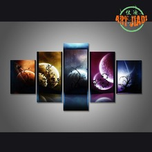 5 Piece Canvas Art Venus Jupiter Mars Planet Mercury Starry Sky Canvas Painting Decoration For Home Wall Art Prints Canvas\A834(China)
