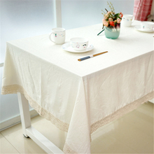 2017 New Natural Plain Simple Pure White Tablecloth Lace Edge 100% Linen Rectangular Table Cover Wedding Party Home Supplies
