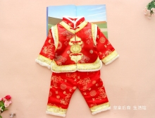 3 pc(cloth+pant+hat) Free shipping New Chinese style winter Girl boy baby Brand FU Cheongsam kid Costume tangzhuang children set
