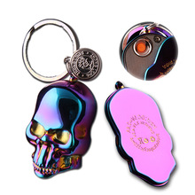 Fashion Skull Electronic USB Lighters With Key Ring Windproof Rechargeable For Cigar Cigarette Smoking Gadget Gift Box For Men(China)