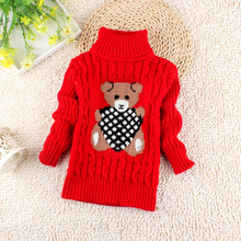 Turtleneck Warm Outerwear Boys Sweater Cartoon Baby Girls Sweater Jumper Kids Knitted Pullovers Children Clothes(China)
