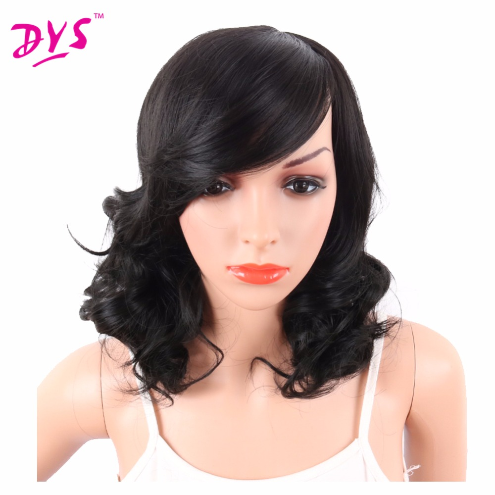 Deyngs Big Curly Synthetic Wigs with Bangs Japanese Kanekalon Fiber Heat Resistant Full Wigs for Women Girls Lady Natural Black (1)