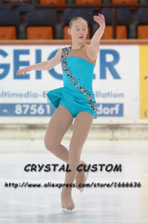 Custom Figure Skating Dresses For Girls Fashion New Brand Competition Children Ice Figure Skating Dresses Crystal DR3808