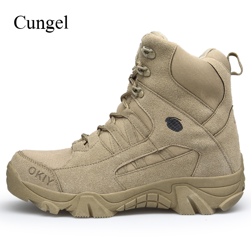 Outdoor Men Tactical Army Boots Military Combat  leather Hiking Shoes Anti-skid