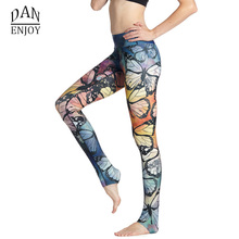 Yoga Pants Women Fitness Yoga Leggings Slim-fit Athletic Apparel Butterfly Cropped Capris Leggings Running Pants Sportswear C077