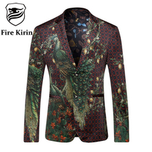 Fire Kirin Blazer Men 2017 Peacock Printed Men Blazers Casual Suit Jacket Slim Fit Homens Blazer Mens Stage Wear Brand Coat Q205