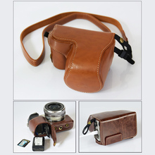 High quality New PU leather Camera Bag Case Cover Pouch for Sony A6000 ILCE6000 Alpha A6300 ILCE-6300 NEX-6 NEX 6 16-50mm