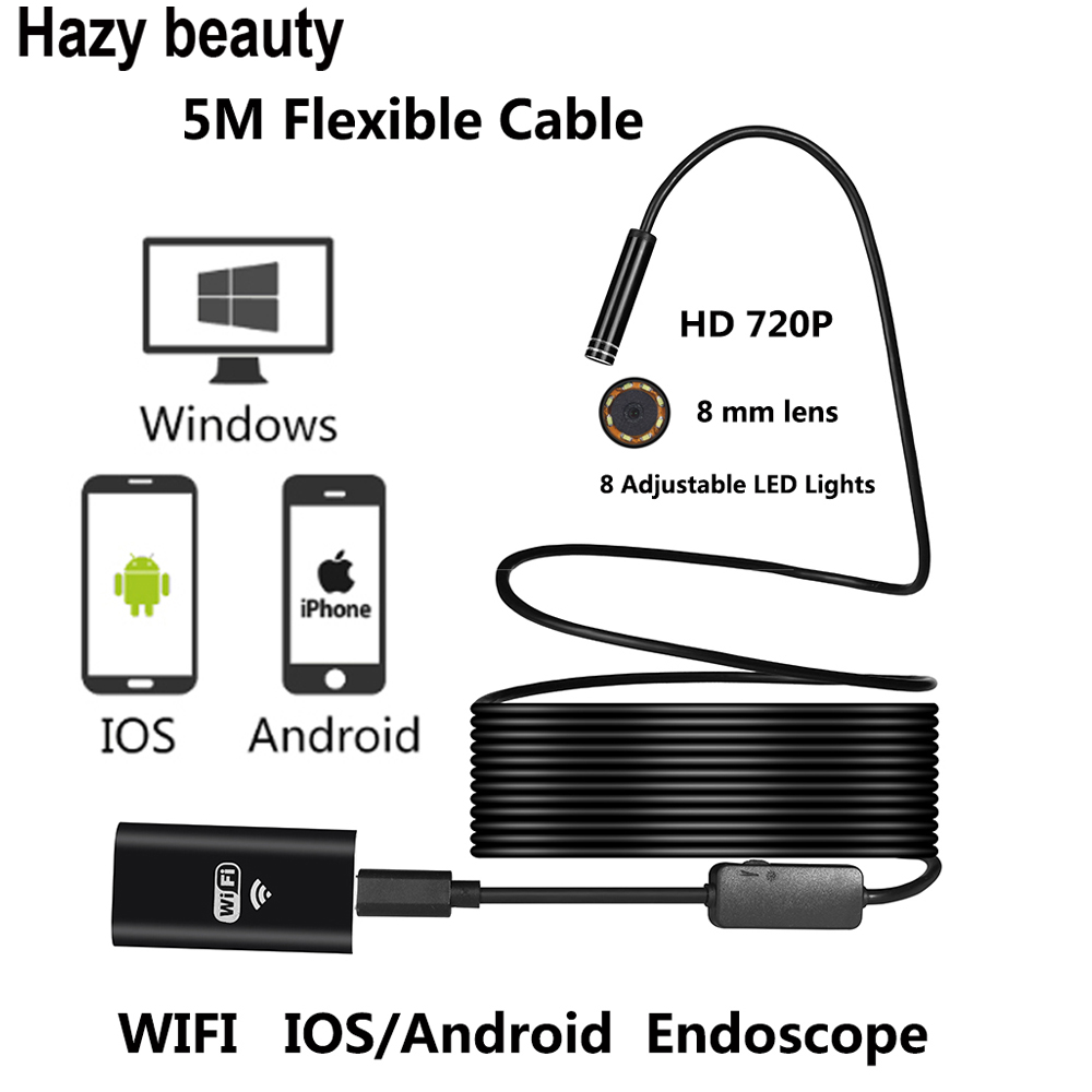 Hazy beauty 8LED 10M  Flexible Snake USB WIFI Endoscope Camera HD 720P 8mm 2MP IOS Endoscope Android Pipe Inspection Camera 5M  <br>