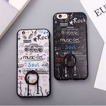 Fashion Cartoon Painted Music Guitar Case For iPhone 6 6s Plus Finger Rotated Ring Holder,Metal Ring Standing Back Cover Shell