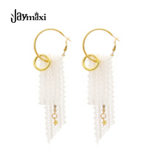 Jaymaxi 2017 New Lace Earrings Tassel Circle Alloy Hyperbole Earrings for Women 2 Colors E420103