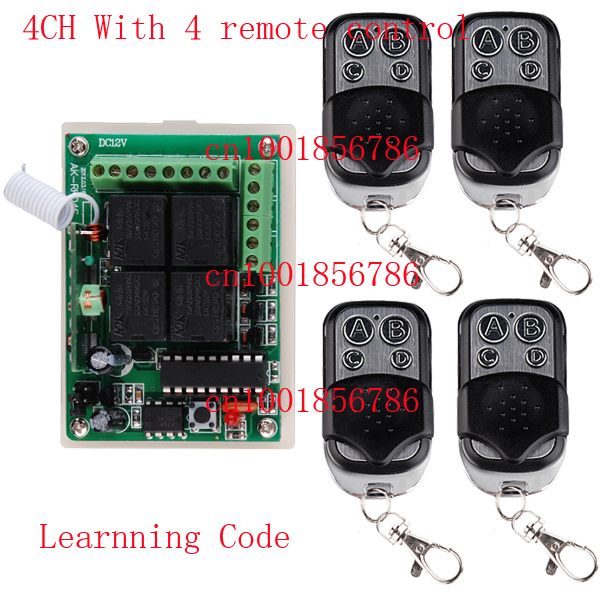 1 Receiver &amp; 4Transmitter 12V 4CH FR Wireless Remote Control Switch System Working Way is adjustable 200M F garage door /lamp<br><br>Aliexpress