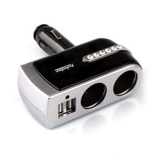 2 USB Charger+2 Socket Car Cigarette Lighter Extender Splitter Silver Double socket with 12V / 24V for Iphone GPS Cellphone