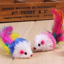 New Qualified 3PCS Furry Mouse Cat Kitten Real Fur Gravel Sounds Cute Toy Faux Mice Cat Toys   Levert Dropship dig698