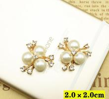 20*20mm 20pcs/lot Gold hair embellishments pearl button HBC346()