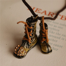 8SEASONS Fashion Jewelry Metal Boots Shoes Pendants Created Gem Stone Vintage Leather Rope Necklace, 1 Piece(China)