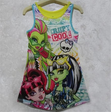 New Fashion Monster Kids High Girls Dress Clothes Sleeveless Kids Summer Casual Dresses Children's Baby Clothing 4-16 Years Old