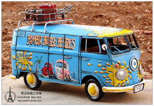 1970s American hippie bus handmade antique metal car models Retro Vintage Automobile Car Model Cafe Bar Decoration Iron Art