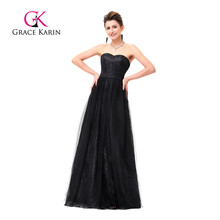 New Arrival Elegant Long Black Evening Dresses Soft Tulle Netting Lace Evening Gowns Grace Karin Sweetheart Formal Dress GK0076(China)