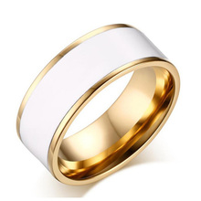 Hot Sale Aliexpress Gold Plating Stainless Steel Ring Cover Pure White Enamel Ring Inisde Polished For Women or Man Ring