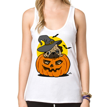 2016 New Fashion Halloween pug Women Tank Tops Pumpkin Dog Printed Casual Vest Cartoon Comics Camisole